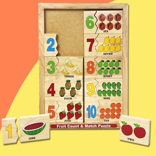Wooden Fruits Count And Match Numbers Puzzle Block Game Board