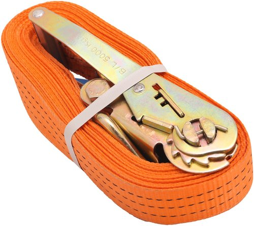 Orange Polyester Ratchet Lashing Belt, 10 Mtr, Size/Capacity: 50mm Width